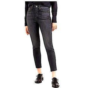 Levi's wedgie skinny black raw hem jeans size 14